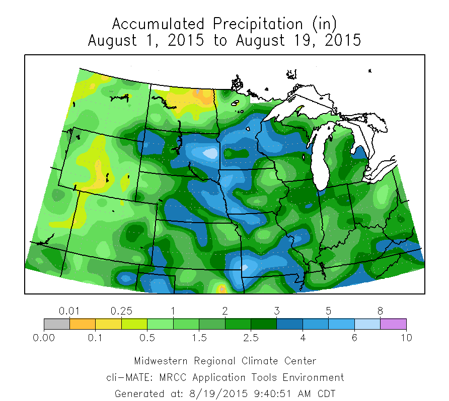 Rainfall and Temperatures Across the Midwest in August – Illinois ...