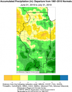 Illinois Precipitation Departures Map