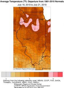 Illinois July Heatwave Map